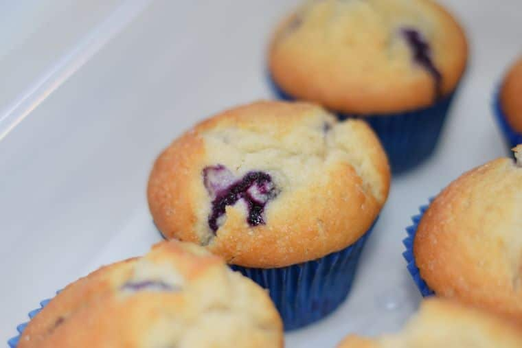 Super fast one-bowl classic blueberry muffins with fresh or frozen blueberries and a crispy sugar top - easy recipe!