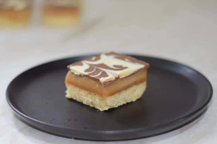 Millionaire's shortbread - buttery shortbread, sweet amber caramel and thin chocolate top.