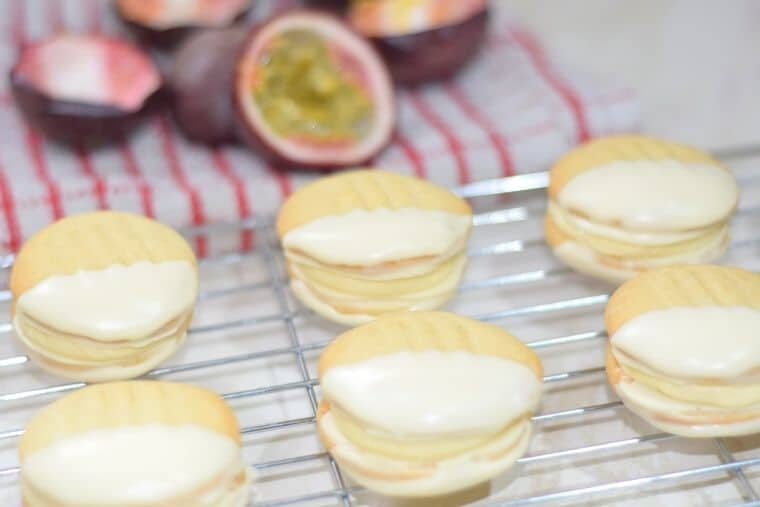 Passionfruit Viennese biscuits on rack