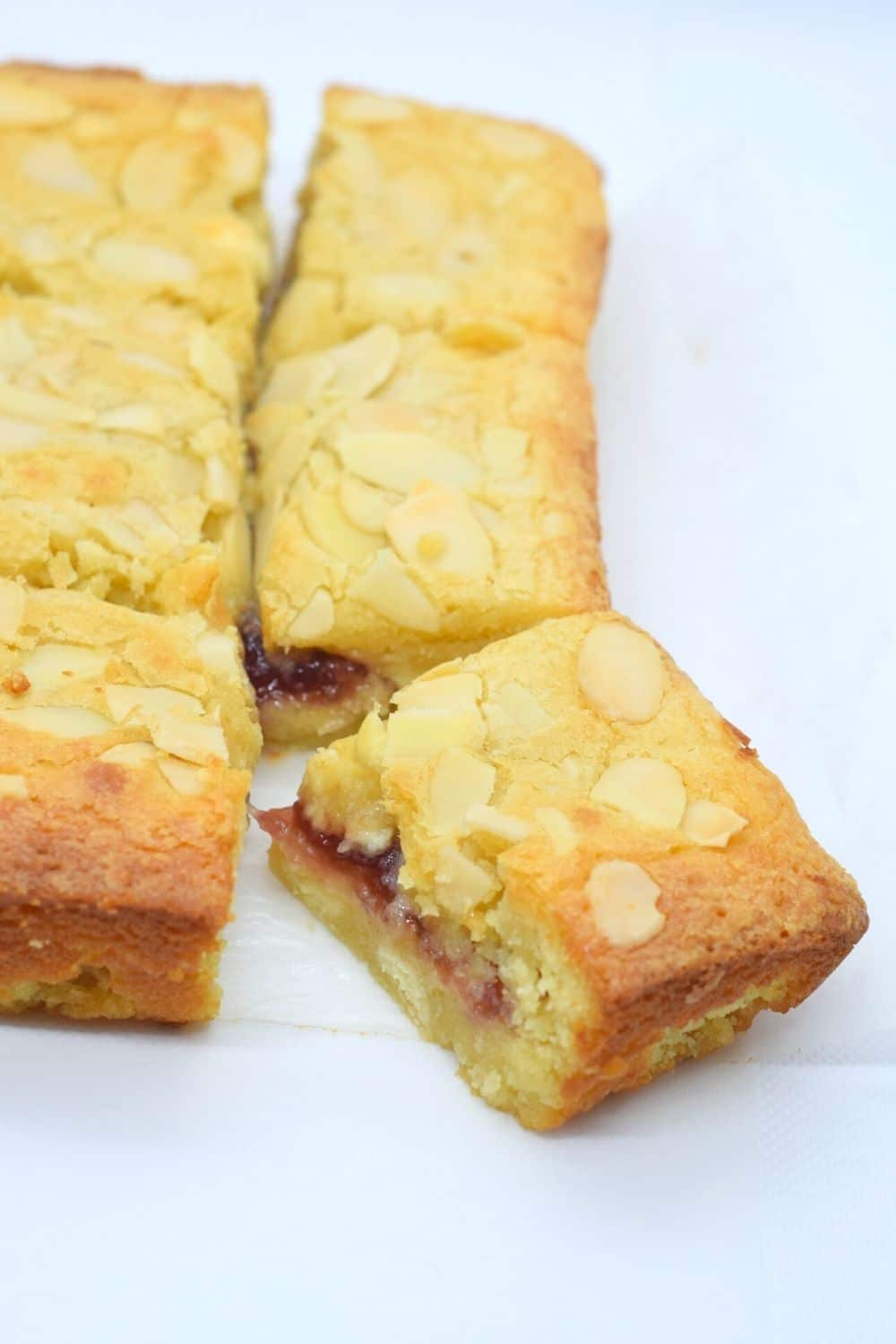 Bakewell White Chocolate Blondies with Raspberry or Cherry Jam Centre Recipe
