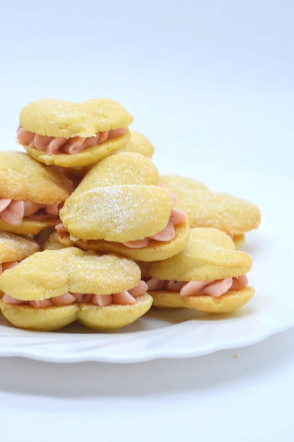 Strawberry Buttercream Heart Melting Moment Sandwich Cookies Biscuits