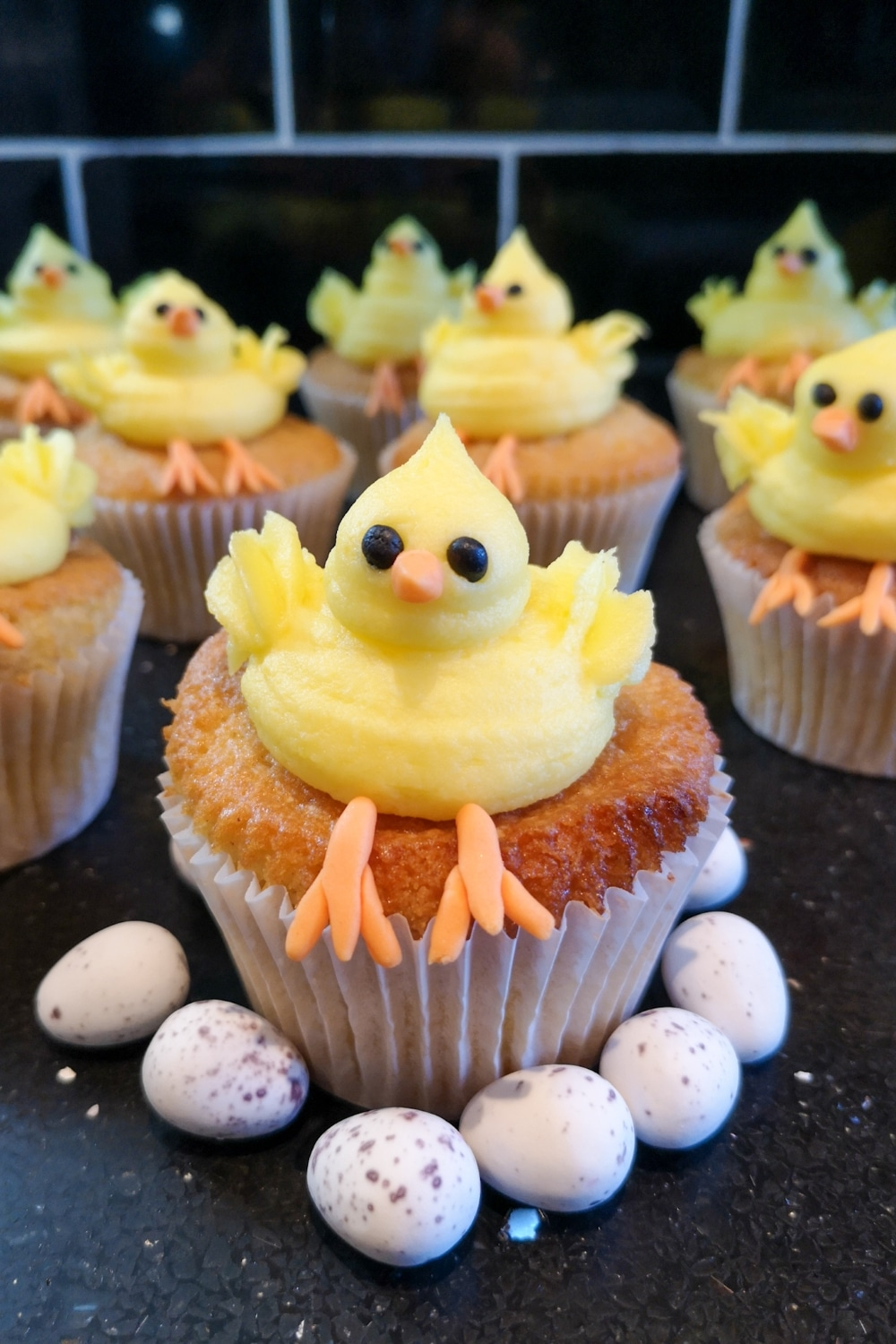 Cute Easter Chick Cupcakes Recipe - a vanilla cupcake with a lemon buttercream frosting shaped as a baby chick
