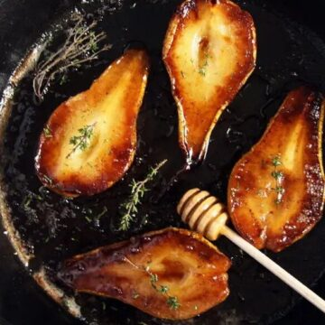 warm roasted pears with balsamic and honey
