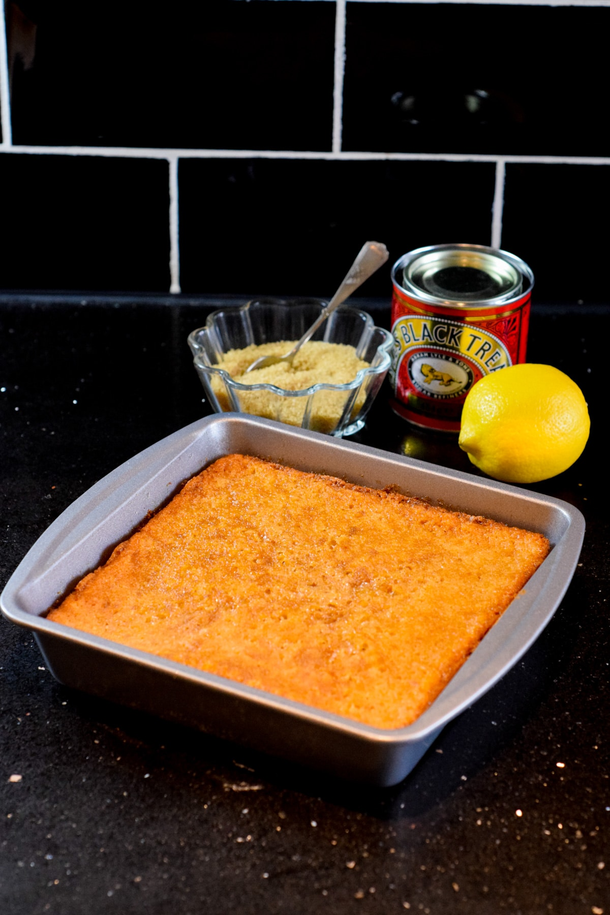 Hot treacle sponge pudding recipe with black treacle, golden syrup and a hint of lemon