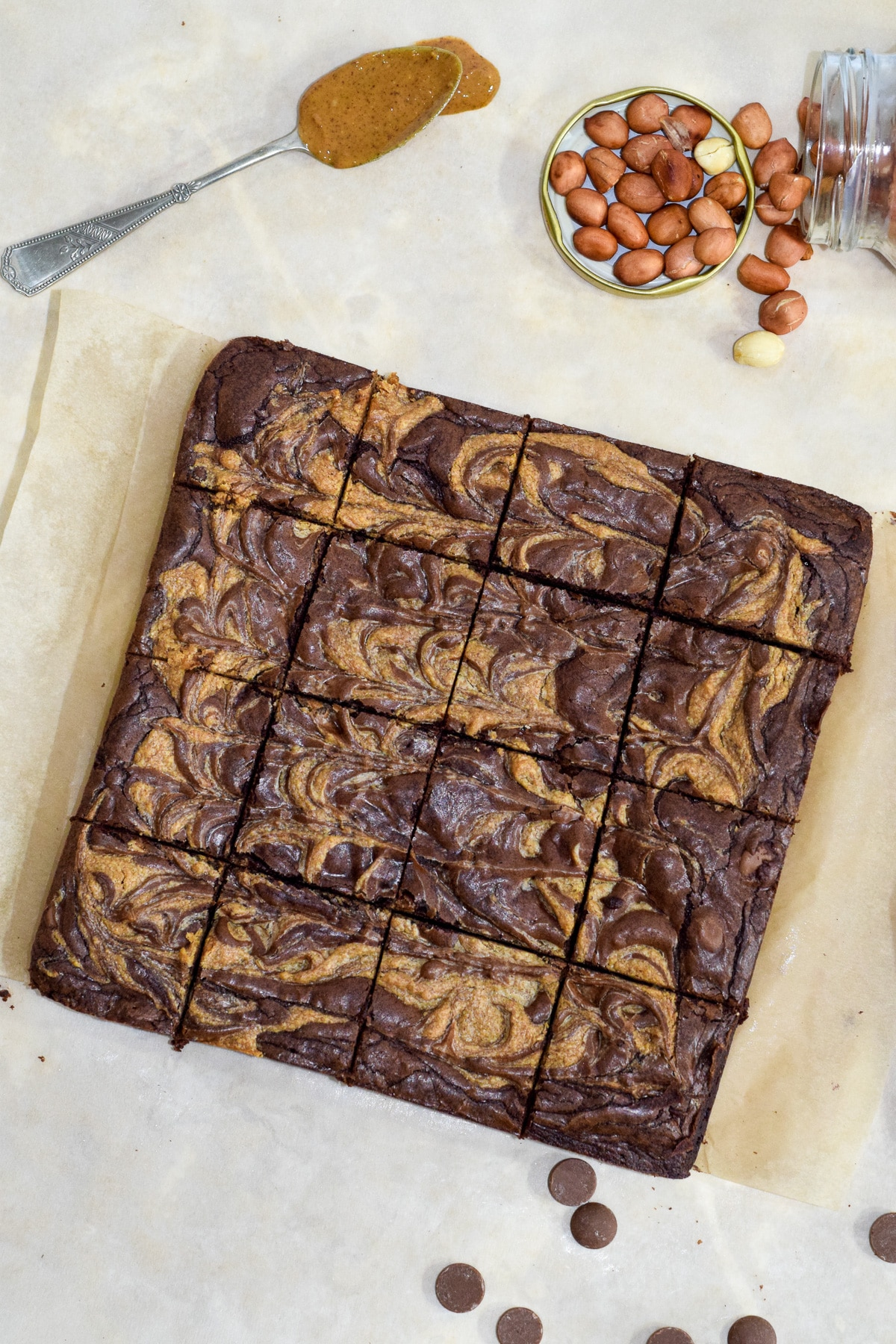 Chocolate peanut butter swirl brownies cut into slices