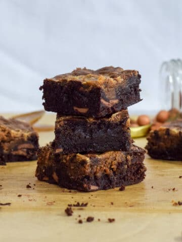 Fudgy chocolate peanut butter swirl brownies stacked