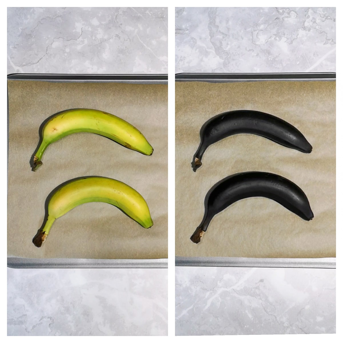 how to ripen bananas from unripe green bananas to brown ripe bananas - before and after