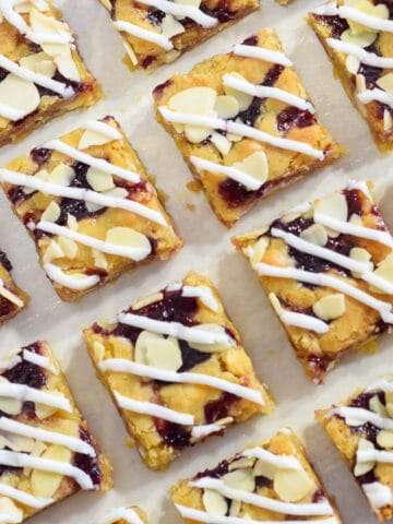 Double cherry Bakewell blondies squares recipe with glace cherries and cherry jam