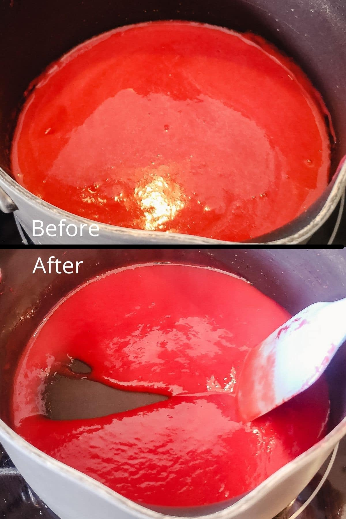 Raspberry puree before and after heating to raspberry reduction