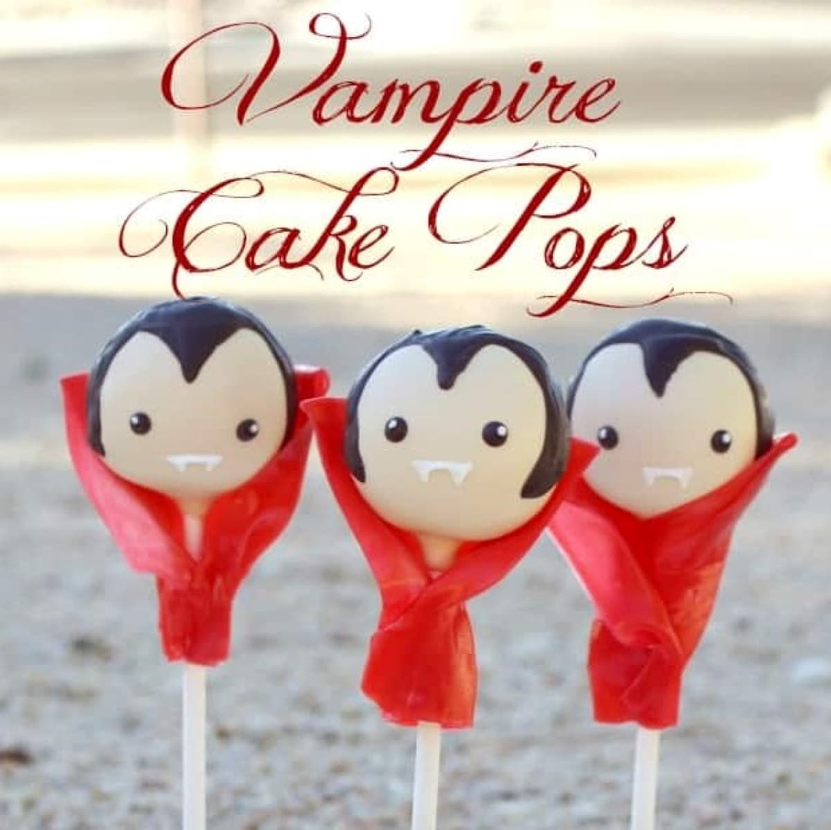 vampire cake pops with red fruit roll up capes